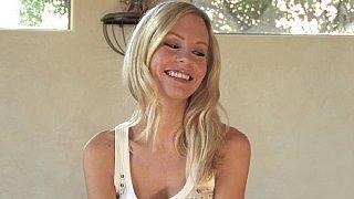 Sexy blonde babe undressing. Upskirts Thumbnail