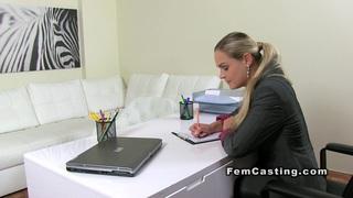 Blonde lesbian amateur eats female agent on casting Thumbnail