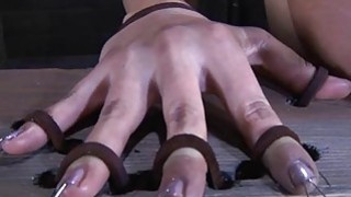 Tough lass gets electrifying torture for her teats Thumbnail