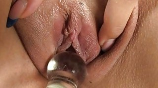 Hotty is pounding her sexy twat with hard dildo Thumbnail