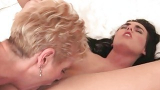 Hot granny loves sexy young brunette Thumbnail