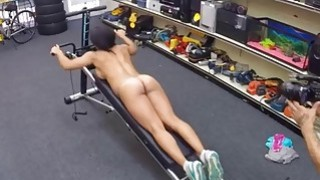 Gym trainer pawns her pussy and fucked by horny pawn man