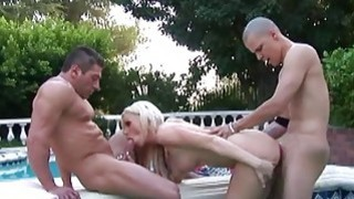 Blonde stunner being fucked in the pool by the hun Thumbnail