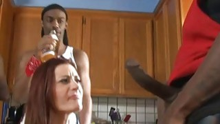 Sexy babe gets pounded in ass and pussy by black men Thumbnail