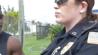 Two slutty female cops take truck driver's black cock and satisfy their needs Thumbnail