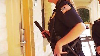 Two lusty female cops blow large black penis before one of them rides it Thumbnail