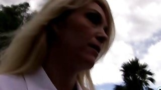 Blonde milf and hot teen share one BBC in their mouths Thumbnail