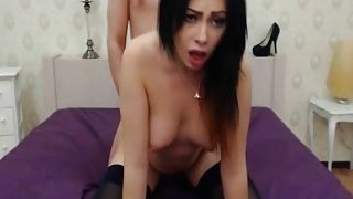 Horny Brunette Babe Gets Mouth and Pussy Fuck Thumbnail