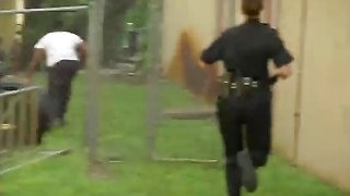 Outdoor interracial threesome banging with two hot female cops and BBC Thumbnail