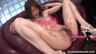 Candle dripped Asian slut sucking on cocks and she Thumbnail