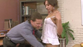 Cute brunette Courtney Page sucks cock and fucks missionary style Thumbnail