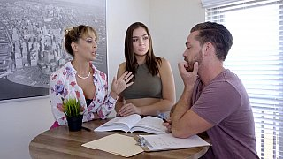 Lesbian sex with a teacher turned into threesome Thumbnail